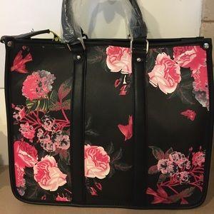 Pink Floral Black Tote